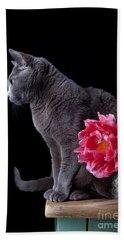 Cat And Tulip Bath Towel