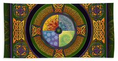 Bath Towel featuring the mixed media Celtic Elements by Kristen Fox