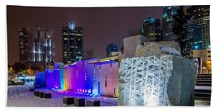 Charlotte Queen City Skyline Near Romare Bearden Park In Winter Snow Hand Towel
