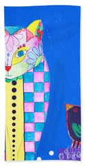Checkered Cat Hand Towel