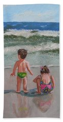 Children On The Beach Hand Towel