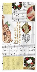Christmas Collage Bath Towel by Sandy McIntire