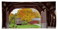 Covered Bridge In Autumn Bath Towel