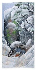 Bath Towel featuring the painting Cozy Couple by Jennifer Lake