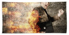 Crazy Businessman Running Engulfed In Fire. Late Bath Towel
