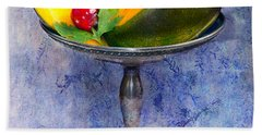Cut Mango On Sterling Silver Dish Hand Towel