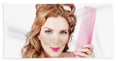 Cute Retro Female Hairdresser With Big Hair Comb Hand Towel