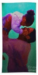 Bath Towel featuring the painting Daddys' Little Girl by Vannetta Ferguson