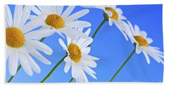 Daisy Flowers On Blue Background Hand Towel