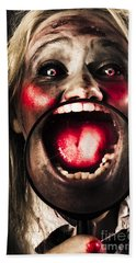 Dark And Scary Horror Face. Evil Laugh Hand Towel