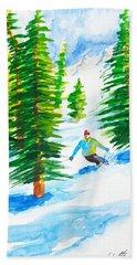 David Skiing The Trees  Bath Towel