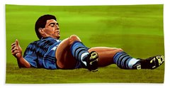 Diego Maradona Hand Towel by Paul Meijering