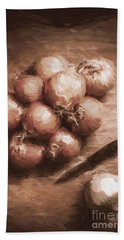 Digital Painting Of Brown Onions On Kitchen Table Hand Towel