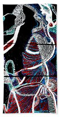 Hand Towel featuring the painting Dinka by Gloria Ssali