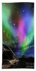 Hand Towel featuring the digital art Dramatic Aurora by Atiketta Sangasaeng