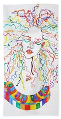 Hand Towel featuring the painting Dreadlocks Piano Goddess by Stormm Bradshaw