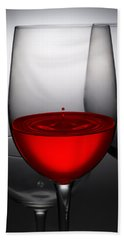 Drops Of Wine In Wine Glasses Hand Towel