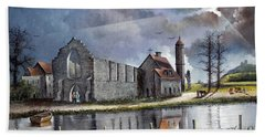 Hand Towel featuring the painting Dudley Priory C1700s by Ken Wood