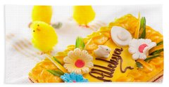 Dummy Yellow Chickies And Decorative Easter Cake  Bath Towel