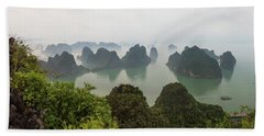 Elevated View Of Misty Ha Long Bay Bath Towel