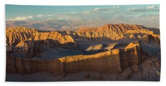 Eroded Hills At Sunset In The Atacama Bath Towel