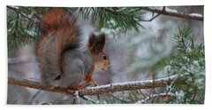 Eurasian Red Squirrel Bath Towel