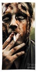 Evil Dead Zombie Smoking Cigarette Outside Hand Towel
