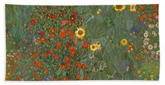 Farm Garden With Sunflowers Hand Towel by Gustav Klimt