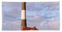 Bath Towel featuring the photograph Fire Island Lighthouse by Karen Silvestri