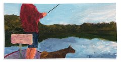 Bath Towel featuring the painting Fishing by Donald J Ryker III