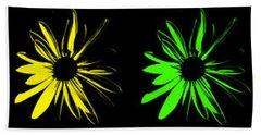 Flowers On Black Hand Towel