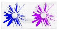 Flowers On White Hand Towel