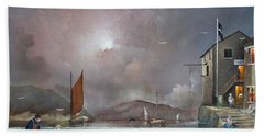 Hand Towel featuring the painting Fowey - Cornwall by Ken Wood