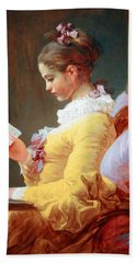 Hand Towel featuring the photograph Fragonard's Young Girl Reading by Cora Wandel