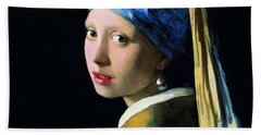 Girl With A Pearl Earring Hand Towel