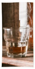 Glass Of Southern Scotch Whiskey On Wooden Table Bath Towel