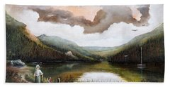 Hand Towel featuring the painting Glendalough by Ken Wood