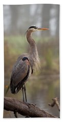 Great Blue Heron Hand Towel by Doug Herr
