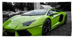 Green Aventador Bath Towel by Matt Malloy