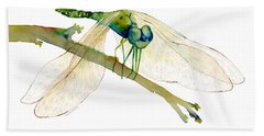 Green Dragonfly Hand Towel