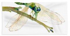 Green Dragonfly Bath Towel