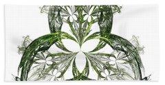 Bath Towel featuring the digital art Green Irish Shamrock Fractal Motif by Jane McIlroy