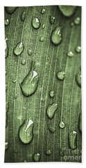 Green Leaf Abstract With Raindrops Hand Towel
