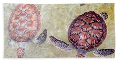 Green Turtles Hand Towel by Carey Chen