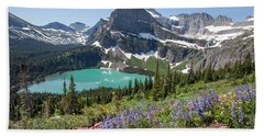 Grinnell Lake Flowers Bath Towel