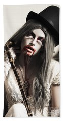 Grunge Ghost Girl With Blood Mouth. Dark Fine Art Bath Towel