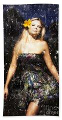 Grunge Portrait Of Sexy Woman In Rain Bath Towel