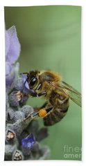 Hand Towel featuring the photograph Happy Bee by Joy Watson
