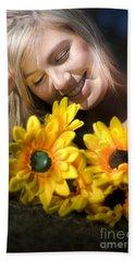 Happy Woman With Sunflowers Bath Towel