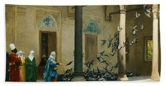 Harem Women Feeding Pigeons In A Courtyard Bath Towel